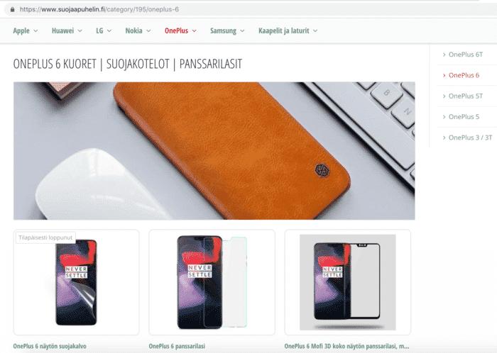 OnePlus 6 suojakuoret ja panssarilasit